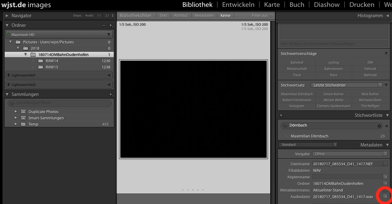 Finally working: Nikon D4 audio comments and Lightroom 6.4